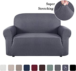 Stretch Sofa Slip Cover T and Box Cushion, Couch Covers for Leather Couch, Lounge Cover Kids Sofa Covers for 2 Cushion Couch Loveseat Cover Slipcover Furniture Covers 2 Seater, Grey