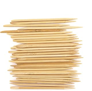 BambooMN Disposable Bamboo 11cm 4mm Nail Art Manicure Pedicure Sticks Cuticle Pushers Remover Tool, 100 Pieces