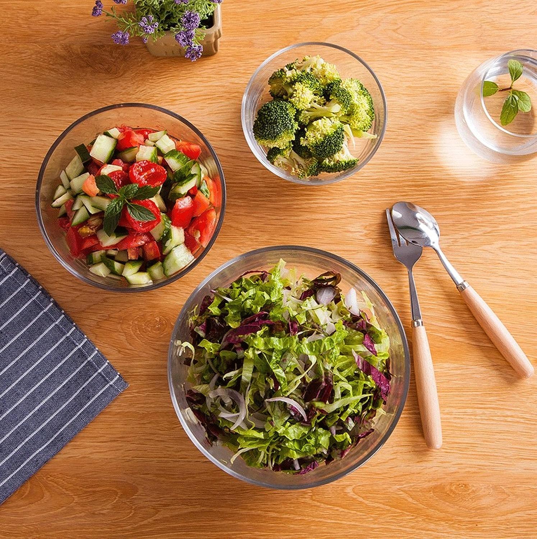 TKZS Bol en verre bol rond bol à dessert bol à riz transparent salade de fruits bol à soupe style japonais ménage nouilles instantanées bol à l'avoine (S M   L)