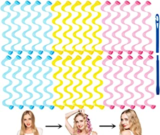 FOYOCER Hair Curlers No Heat Wave Styling Kit 30 Heatless Magic Hair Rollers with Styling Hooks for Short Hair up to 30cm/...