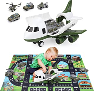 Sponsored Ad - Action Figure Vehicles Playsets Military Cargo Airplane with Car Toys Set , INKPOT Toddlers Military Toys T...