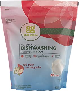 Grab Green Natural Automatic Dishwashing Detergent Pods, Red Pear with Magnolia, 60 Count