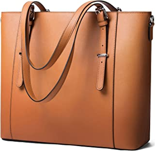 "Women 15.6"" Laptop Genuine Leather Shoulder Bag Work Handbag Satchel Carry-on Tote Bag in Trolley Handle by Enmain"