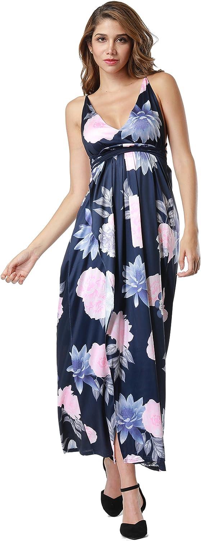 Clarisbelle Women's Sexy Deep V Neck Backless Floral Print Split Maxi Party Dress