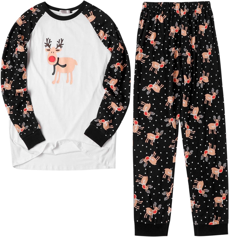 ENJOYNIGHT Matching Family Pajama Sets 100% Cotton Christmas Pajamas for Women Men Long Sleeve Tee and Pant Sleepwear