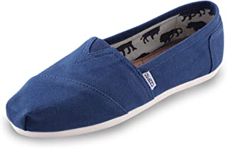 HSYZZY Women's Canvas Shoes Slip-on Ballet Flats Classic Casual Sneakers Daily Loafers Blue