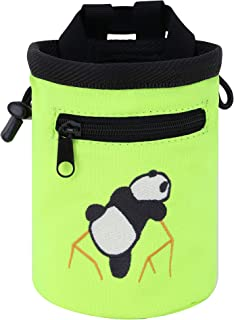AMC Rock Climbing Panda Embroidered Chalk Bag with Zipper Pocket
