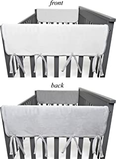 American Baby Company 2 Piece Heavenly Soft Chenille Reversible Crib Rail Cover for Side Rails, Grey/White,Wide for Rails Measuring up to 18
