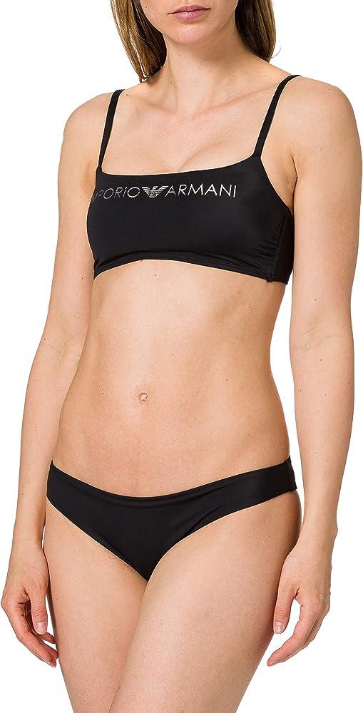 Emporio armani swimwear top & brazilian brief bikini light logo set per donna 82% poliammide 18% elastan 262670 1P313 00074A