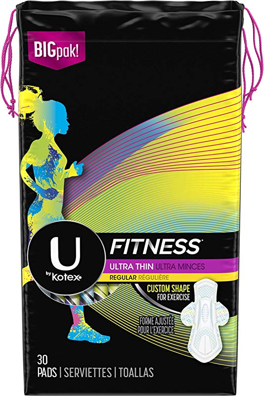 U By Kotex Fitness Ultra Thin Pads With Wings Regular Absorbency Fragrance Free Pads 30 Count