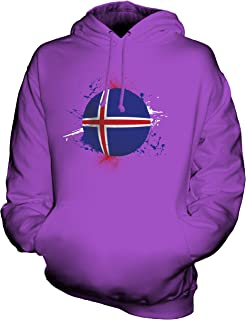 CandyMix Unisex Iceland Football Splatter Mens/Womens Hoodie, Size X-Small, Color Purple