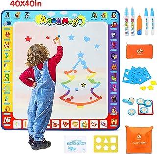 Fansteck Water Doodle Mat، آب تزئینی 40x40 اینچ، Aqua Magic Doodle Mat با 24 لوازم جانبی، اسباب بازی آموزشی رنگارنگ و هدیه ایده آل برای کودکان نوپا، پسران، دختران (تم الفبایی)
