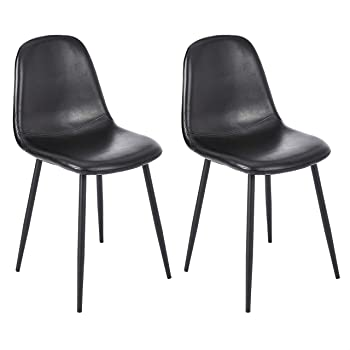 CangLong Faux Leather Dining Back Modern Side Chair for Pub Coffee Home, Set of 2, Black
