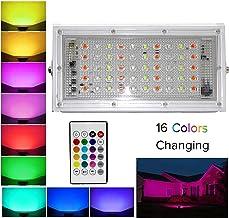 ESS EMM Metal White Body Crystal 50 Watt 220-240V Waterproof Landscape IP66 LED Flood Light RGB Multi Colour with Remote