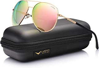 Aviator Sunglasses for Women Polarized Mirror with Case – UV 400 Protection 60MM