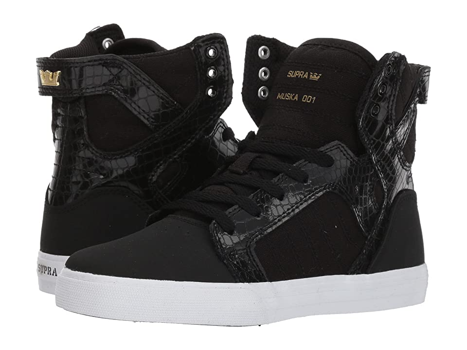Supra Kids Skytop (Little Kid/Big Kid) (Black/Gold/White) Boys Shoes