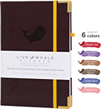 Live Whale, Weekly, Monthly Planner. A5 Personal Organizer - Hand Crafted to Increase Productivity, Track Goals and Achieve Well Being. (Brown)