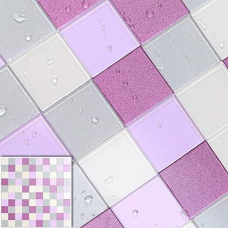 BeNice Baldosas autoadhesivas para paredes, azulejos adhesivos para cocina, baño, mosaico, autoadhesivos, impermeables, resistentes al calor (5 hojas, morado lila)