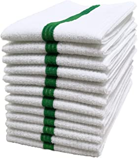Polyte Microfiber All-Purpose Ribbed Terry Bar Mop Towel for Home, Kitchen, Restaurant Cleaning (14x17, White w/Green Stripe) 12 Pack