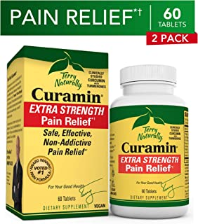 Terry Naturally Curamin Extra Strength (2 Pack) - 60 Vegan Tablets - Non-Addictive Pain Relief Supplement With Curcumin From Turmeric, Boswellia & DLPA - Non-GMO, Gluten-Free - 40 Servings