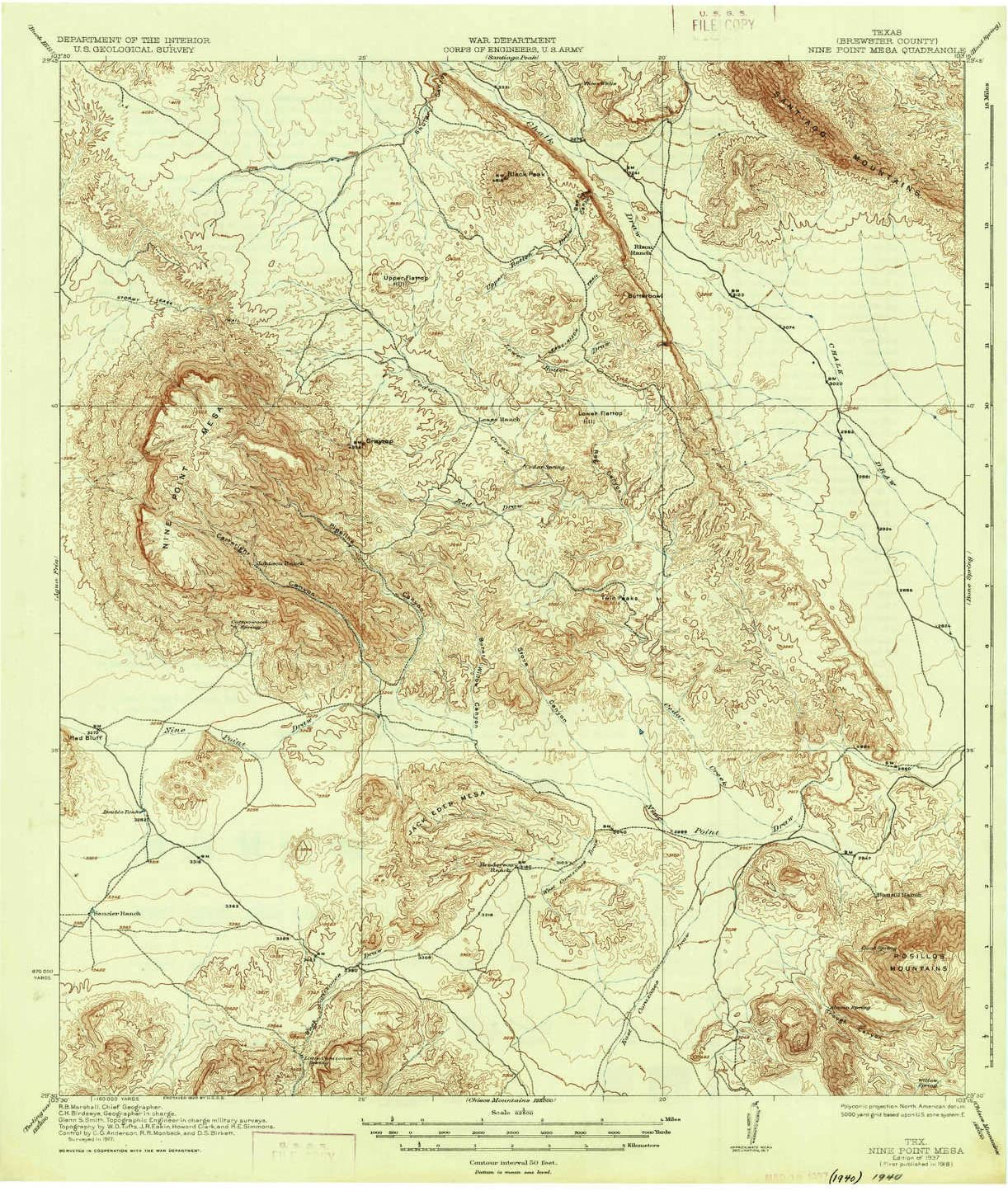 20.9 x 17 in 15 X 15 Minute 1:62500 Scale YellowMaps Nine Point Mesa TX topo map 1937 Historical