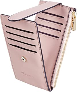 Chelmon Womens Walllet Slim RFID Blocking Bifold Multi Card Case Wallet with Zipper Pocket (Pink Champagne)