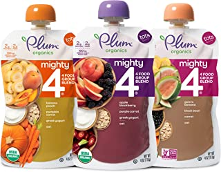 Plum Organics Mighty 4, Organic Toddler Food, Variety Pack, 4 ounce pouches (Pack of 18)(Packaging May Vary)