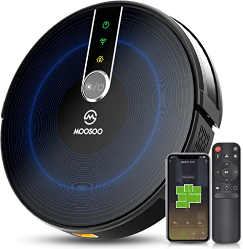 MOOSOO Robot Vacuum with Mapping Technology, 2200Pa Strong Suction Quiet Smart WiFi Robot Vacuum Cleaner, Super Thin ...