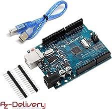 AZDelivery Placa de desarrollo microcontrolador con cable USB, compatible con Arduino Uno R3 y con E-Book incluido!
