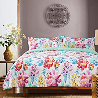 GS Home Fashions 100% Cotton Comforter Set Queen 4 Piece, Elegant Floral Printed Warm and Cozy Bedding Collection Ultra Soft Reversible, 1 Comforter, 2 Shams and 1 Pillow