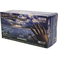 Adenna DLG675 Dark Light 9 mil Nitrile Powder Free Exam Gloves (Black, Medium) Box of 100