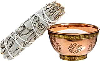 Alternative Imagination 7 Chakras Copper Offering Bowl Kit. Includes Sand and California White Sage Brand.