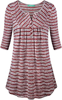 Kimmery Women Half Sleeve Notch V Neck Loose Fitting Tunic Top