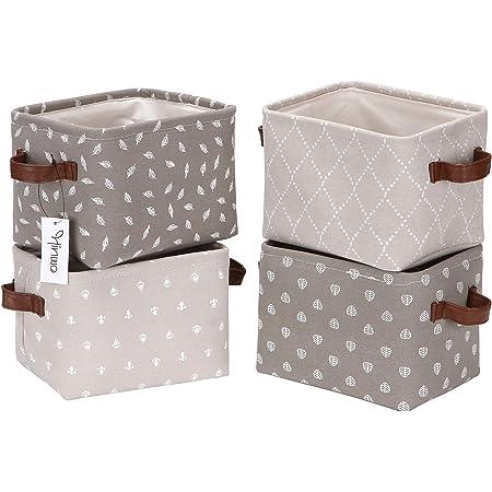 Hinwo 4L Taille mini Chambre d'enfant Panier de rangement pliable carré Denim Tissu Boîte de rangement Container Organiseur avec poignées de cuir PU pour étagères et bureaux, Lot de 4, 20