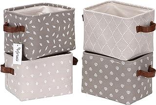 Hinwo Lot de 4 mini paniers de rangement pliables carrés en tissu denim avec poignées en cuir synthétique pour étagères et...