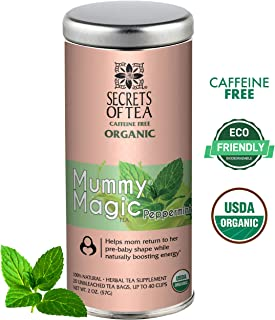 Secrets of Tea, Mummy Magic Weight Loss Peppermint USDA Organic Postpartum Tea for Metabolism Boosting & Body Detoxification, Maternity Tea is Our Specialty 20 Tea Bags for 40 Servings