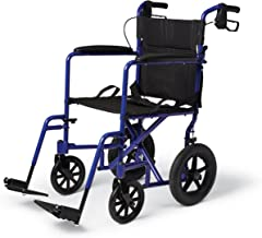 Medline Lightweight Transport Wheelchair with Handbrakes, Folding Transport Chair for Adults has 12 inch Wheels, Blue