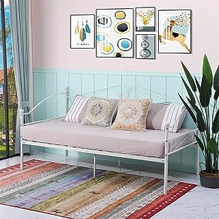 EGGREE Lit Banquette en Métal, Cadre de lit Simple pour Adults Enfants, 90 x 190cm - Blanc