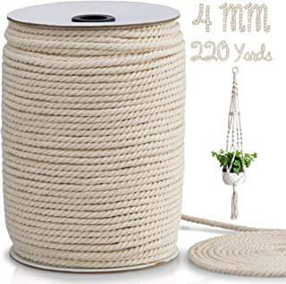 Macrame Cord 4mm x 220 Yards, Macrame Rope, Natural Cotton Macrame String for Crafting Macrame Supplies, Plant Hangers, Kn...