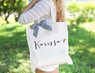 Personalized Glam Wedding Tote Bags for Bridal Party, Bridesmaid Bags Gifts for Bridesmaids and Maid of Honor Wedding Totes