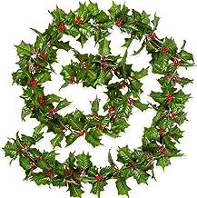 Red Berry Slinger van Kerstmis 7.2Ft Artificial Bourgondië Berry met groene bladeren Garland Realistische Kerstmis Hangend...