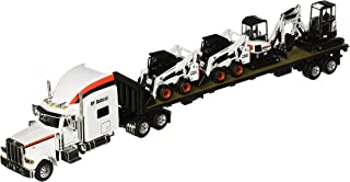 Bobcat Peterbilt 379 Tractor with Flatbed Trailer Equipment (1:50 Scale), White/Black/Red