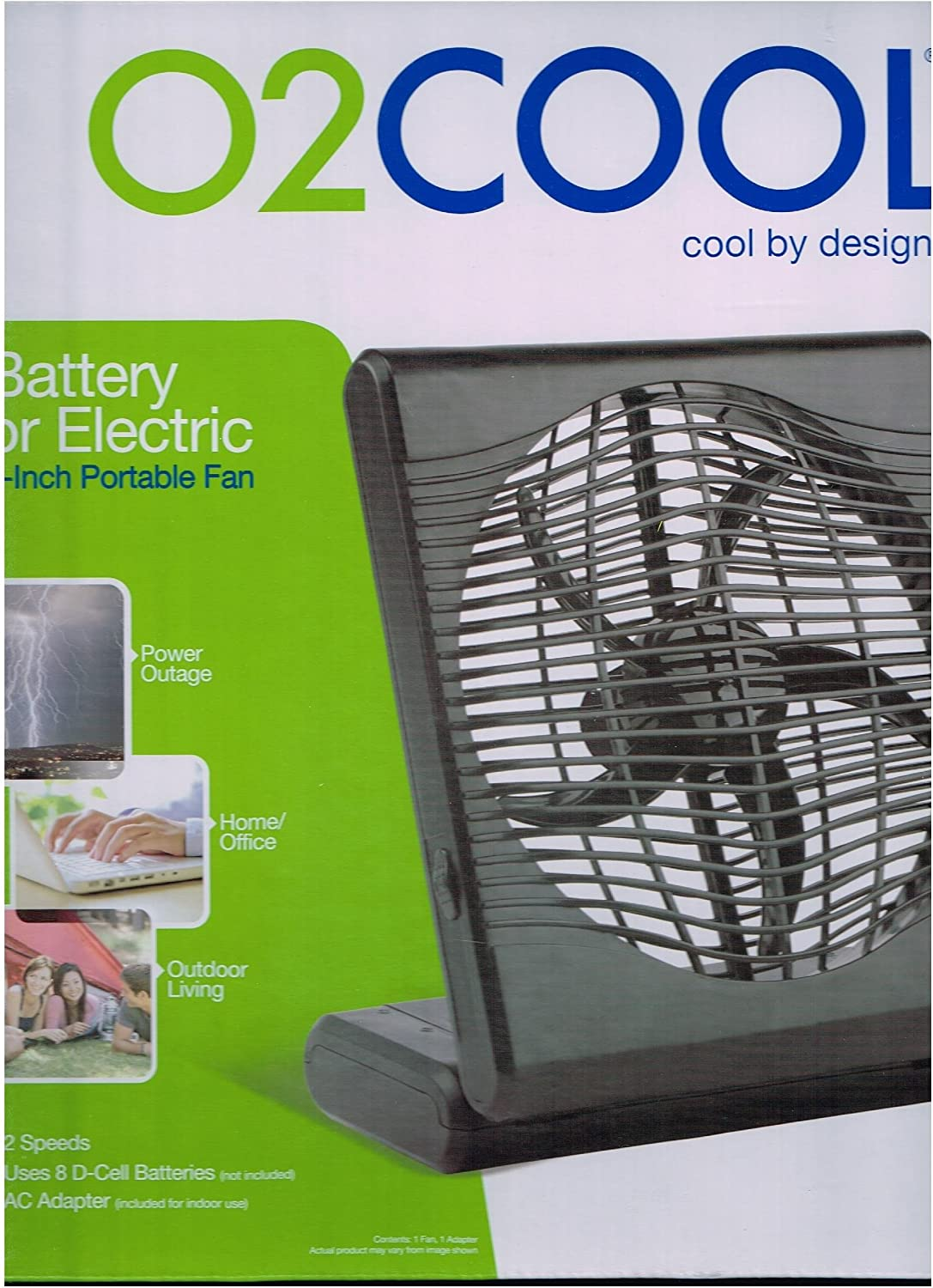 O2COOL NEW 8 Battery shopping or Electric Adapter Operated Fan with Blac Max 59% OFF
