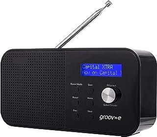 Groov-e Venice Compact DAB/FB Digital Radio with 20 Preset Stations, LCD Display, Dual Alarm Clock, Telescopic Antenna & 3...