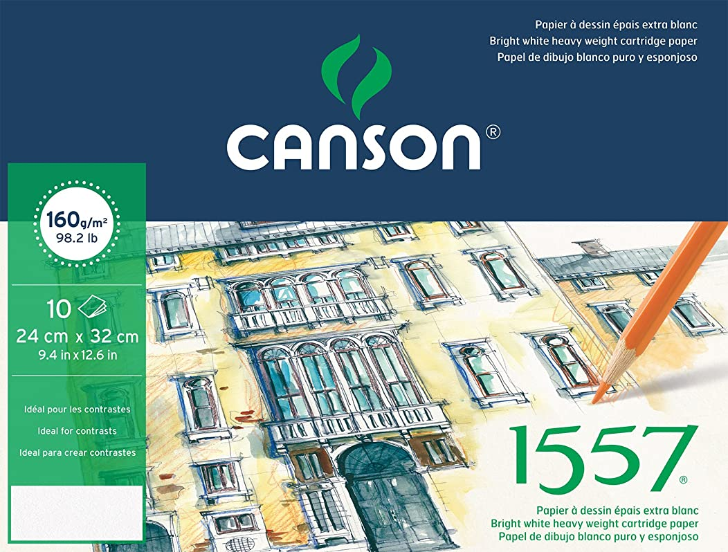 Canson Pack Fine Arts 400056372 1557 Drawing Paper 10 Sheets Grit Light 24 x 32 cm Pure White