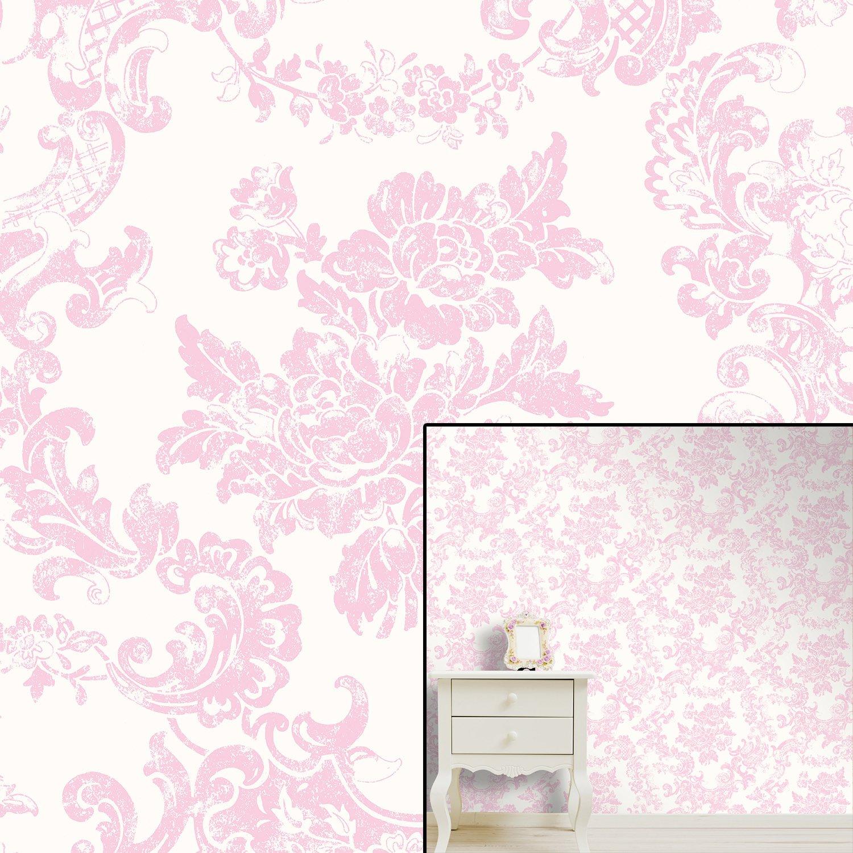 Marshmallow Pink M0756 Toile De Jouy Style Vintage Lace Damask