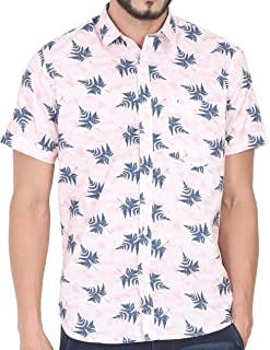 Cranberry TUSOK Men Short Sleeve Shirt Casual Hawaiian Flower Floral Leaf Party Beach Vacation Aloha Printed Pink Blue …