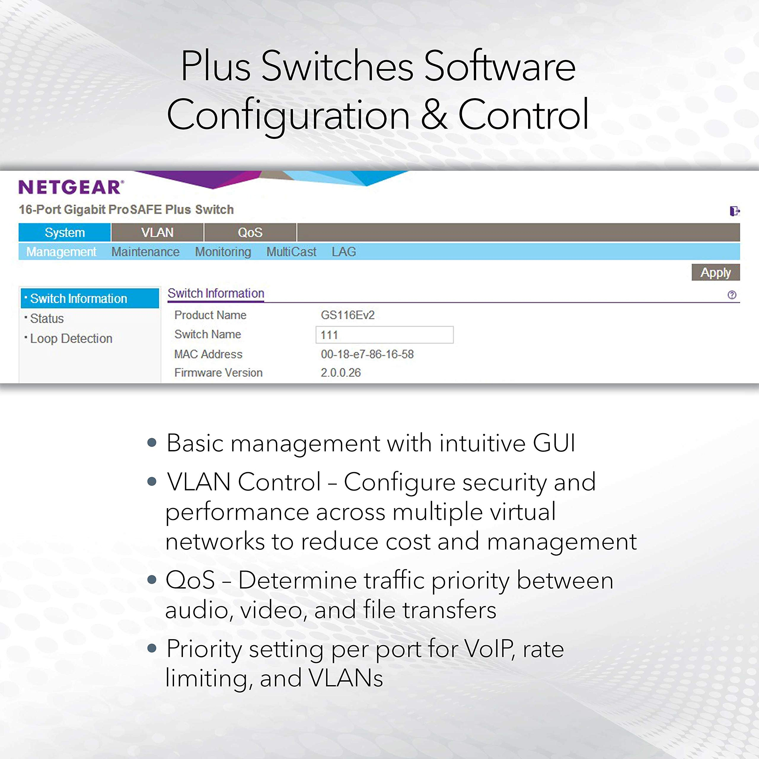 NETGEAR 8-Port PoE Gigabit Ethernet Plus Switch (GS108PEv3) - Managed, with 4 x PoE @ 53W, Desktop or Wall Mount, and Limited Lifetime Protection