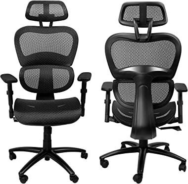Komene Ergonomic Mesh Office Chair, High Back Computer Chairs with Adjustable Headrest backrest, 3D Flip-up Arms, Swivel Exec