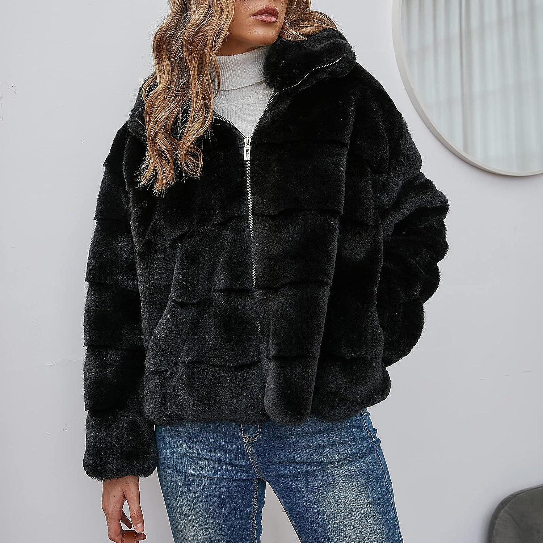 Lucktop Women's Faux Fur Jacket Winter Warm Fleece Coats Long Sleeve Zip Up Jacket Coat Casual Solid Color Lapel Jacket